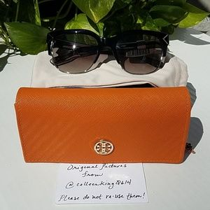 NWT Tory Burch TY7117 Half Rim Gray Sunglasses